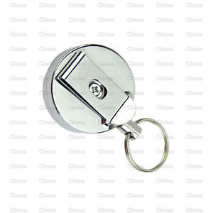Retractable Metal Card Badge Holder Steel Recoil Ring Pull Belt Clip Key Chain