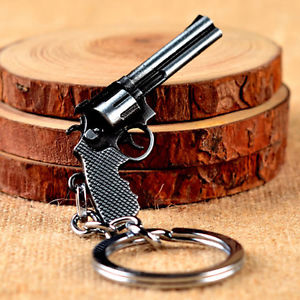 Cool Revolver Pistol Weapon Gun Model Metal Keyring Keychain Mini Key Ring Chain