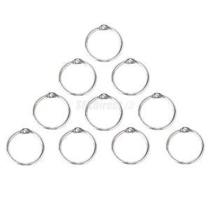 Alcoa Prime 10pcs Silver Metal Loose Leaf Binder Hinge Snap Rings School /Office /Craft Use