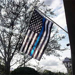 US Police Thin Blue Line Stripe Flag 3.5x6.1 FtSupport Police&Law Enforcement QW