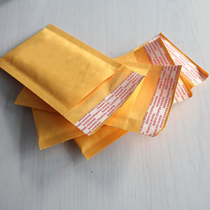 10Pcs 90*130+40mm Kraft Bubble Envelopes Mailers Shipping Yellow Bags L6X