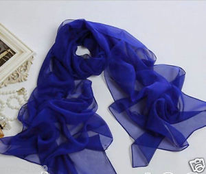 Fashion Soft Women Blue Pure Color Chiffon Beach Long Scarf Wrap Shawl Stole