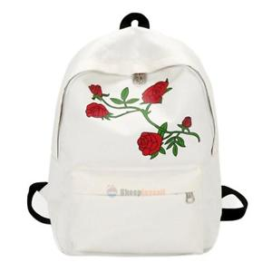 Lovely Preppy Chic Women Canvas Flower Embroidery Large Capacity Backpack(White)