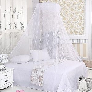 White Mosquito Net Fly Insect Protection Single Entry Double King Size Canopy JG