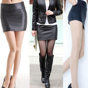 Alcoa Prime Stylish Women Sexy Faux Leather Pencil Bodycon High Waist Mini Dress Solid Color