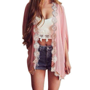 Alcoa Prime Summer Women Chiffon Lace Flower Loose Kimono Cardigan Jacket Blouse Tops Smock
