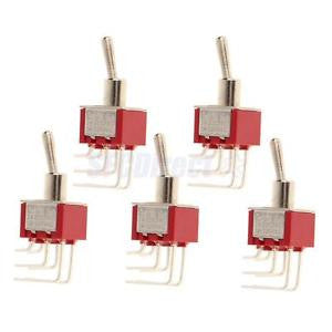 Alcoa Prime 5 x On/On Side Bend Small Mini Toggle Switch Round Handle 6 Pin Red
