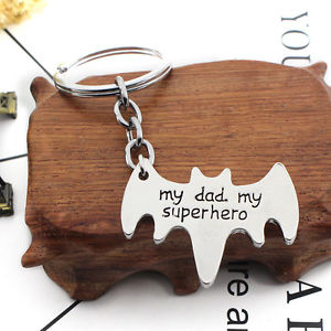 """My Dad, My Super Hero"" Bat Shaped Pendant Keyring Keychain Father's Gift"