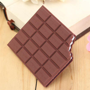 Hot!PVC Novel Scented Chocolate Shape Blank Page Mini Notebook Pocket Memo Pad