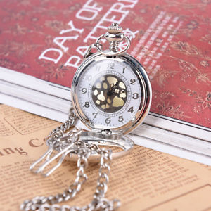 1Pc Beautifully Carved Phoenix Pattern Half Face Hollowed Out Pocket Watch-Gifts
