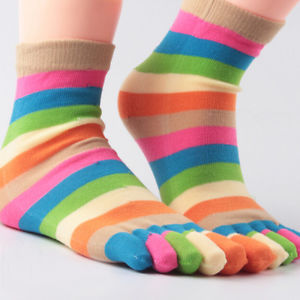 1* Pairs Wholesale Colorful Women's Girl Color Stripes Five Finger Toe Socks#