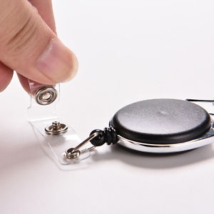 Retractable Reel Recoil ID Badge Lanyard Name Tag Key Card Holder Belt Clip TB