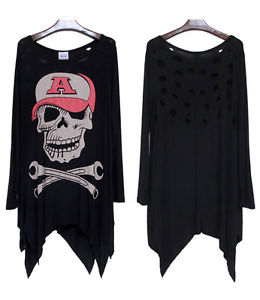 Alcoa Prime Fashion Womens Round Neck Long Sleeve Skull Design Tunic Loose Top New Stylish