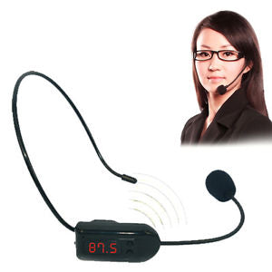 For Loudspeaker Wireless FM Radio Headset Microphone Megaphone Mic Handsfree New