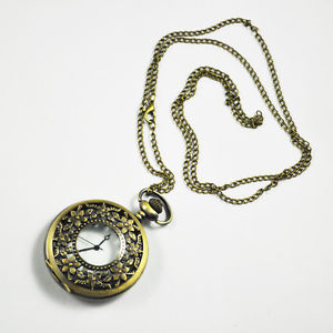 "Alcoa Prime Antique Pocket Watch with 31"" Chain in Antique Bronze Gold FinishN3"