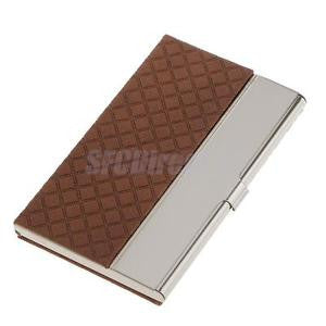 Alcoa Prime Stainless Steel Business Card Name ID Card Holder Case Organizer- Coffee