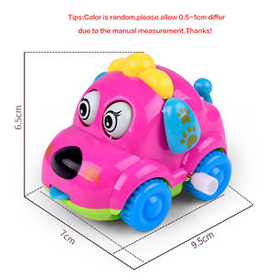 Popular!Cute Plastic Wind Up Clockwork Running Dog Toy Car Kids Toy Random Color