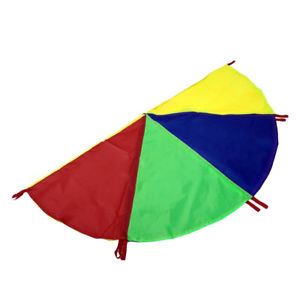 Foldable 2m Huge Rainbow Kids Play Parachute Toy w/ 8 Handles Outdoor Game Bling