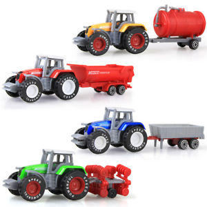 Alcoa Prime 4Pcs Set Alloy Car Farmer Tractor Tank Trailer Models Diecast Kids Toy Car Gifts