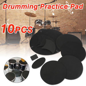 10Pcs/set Rubber Foam Bass Snare Drum Sound Off Quiet Mute Silencer Practice Pad