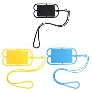 3Pack Silicone Lanyard Phone Holder Neck Sling Wrist Strap With ID Card Case