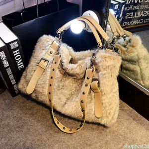 Women Shoulder Bag Soft Faux Fur Hair European Style Plush Ladies Tote Bag