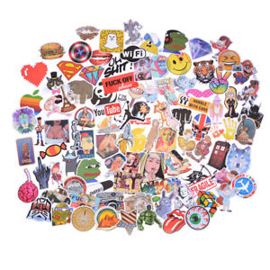 100Pcs Mixed Funny Cartoon Doodle Decals Luggage Laptop Skateboard DIY Stickers#