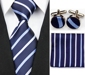 Alcoa Prime New Navy Blue Striped Necktie Men's Tie Cufflinks Hanky Handkerchief Set GA138