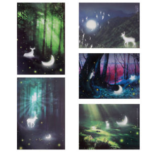30 Pc Deer Moon Glowworm Forest Landscape Postcards Birthday Greeting Post Cards
