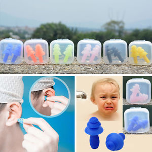 1Pair Comfortable Silicone Ear Plugs Anti Noise Hearing Protection Earplugs+ Box