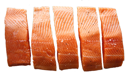 Chilled Skin On Portions 5/pkt - Akaroa NZ King Salmon - Arrives on Weds