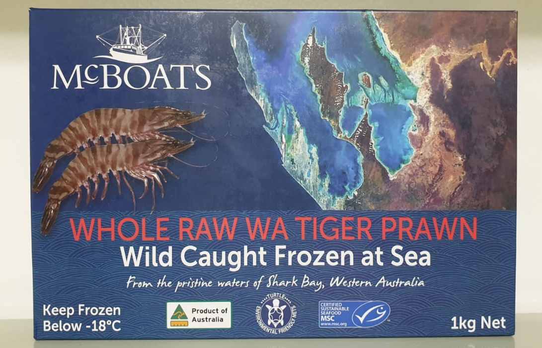 Western Australian Tiger Prawns (Raw) - Shark Bay - FROZEN