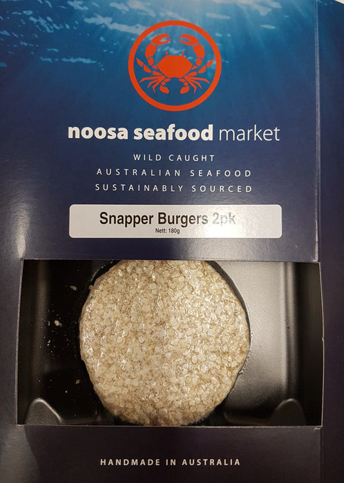 Snapper Fish Burgers 200g+/- Noosa Seafood Market - WILD CAUGHT - FROZEN