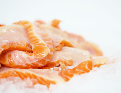 Frozen Salmon Belly Slices 150g+/pkt - Akaroa NZ King Salmon
