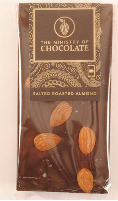 Dark Chocolate Salted Almond Bar 100g - Ministry of Chocolate