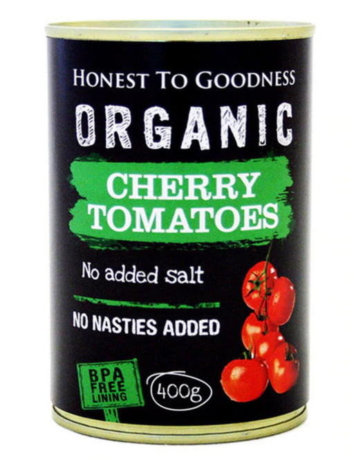 Organic Tinned Cherry Tomatoes 400gm BPA Free- Honest to Goodness<BR>AVAILABLE 4 JUNE
