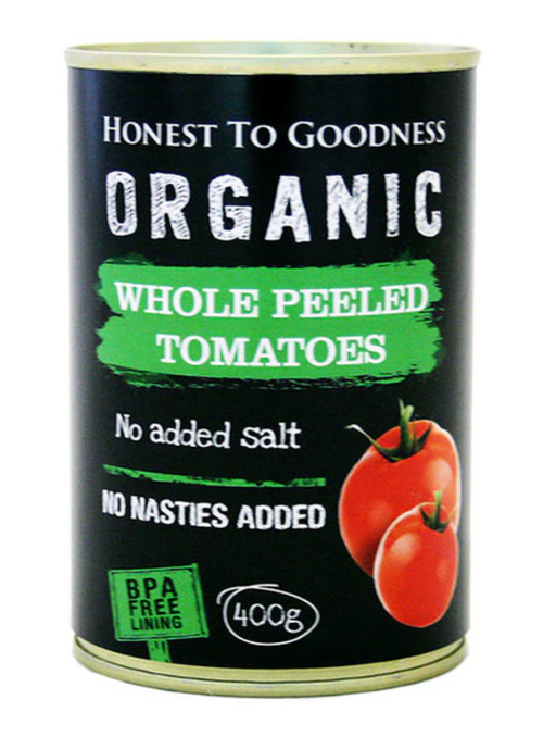 Organic Tinned Whole Peeled Tomatoes 400gm BPA Free- Honest to Goodness<BR>AVAILABLE 4 JUNE
