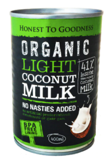 Organic Light Coconut Milk 400ml - Honest to Goodness