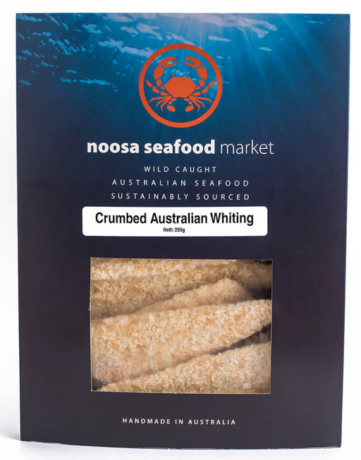 Crumbed Whiting Fillet 250g +/- Noosa Seafoods - WILD CAUGHT - FROZEN