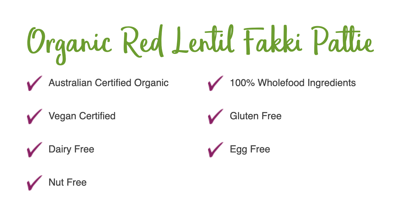 Vegan Organic Red Lentil Fakki Pattie 300gm - Bite Me Fine Foods