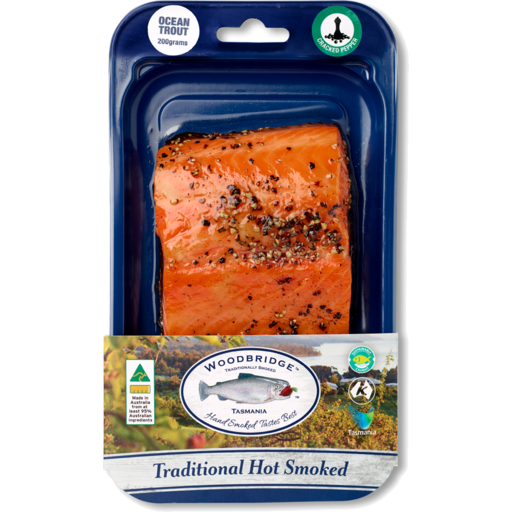 Premium Hot Smoked Traditional Ocean Trout 150gm - Woodbridge Smokehouse