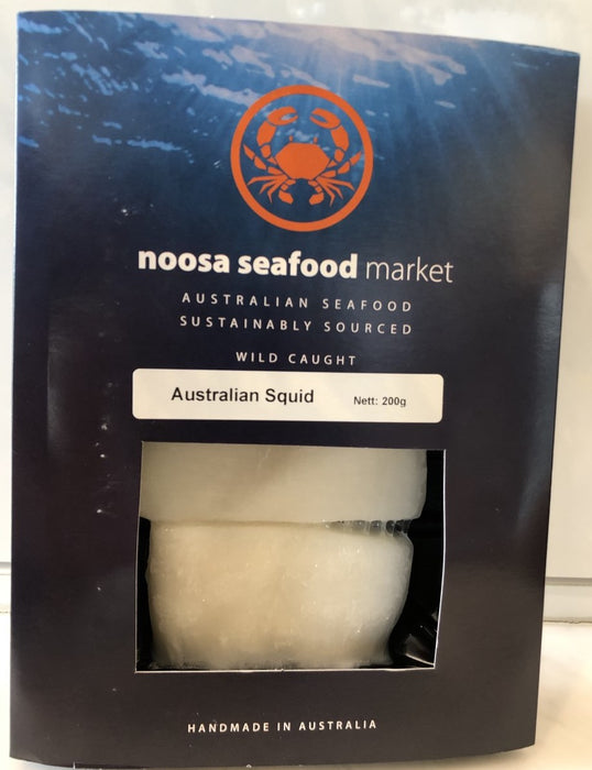 Australian Squid/Calamari 200g +/- Noosa Seafood - WILD CAUGHT - FROZEN - The Fishwives Singapore