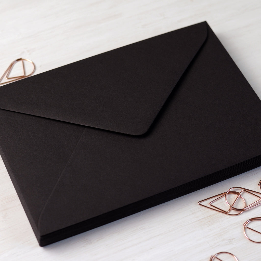 Black 5x7 Envelopes for wedding invitations
