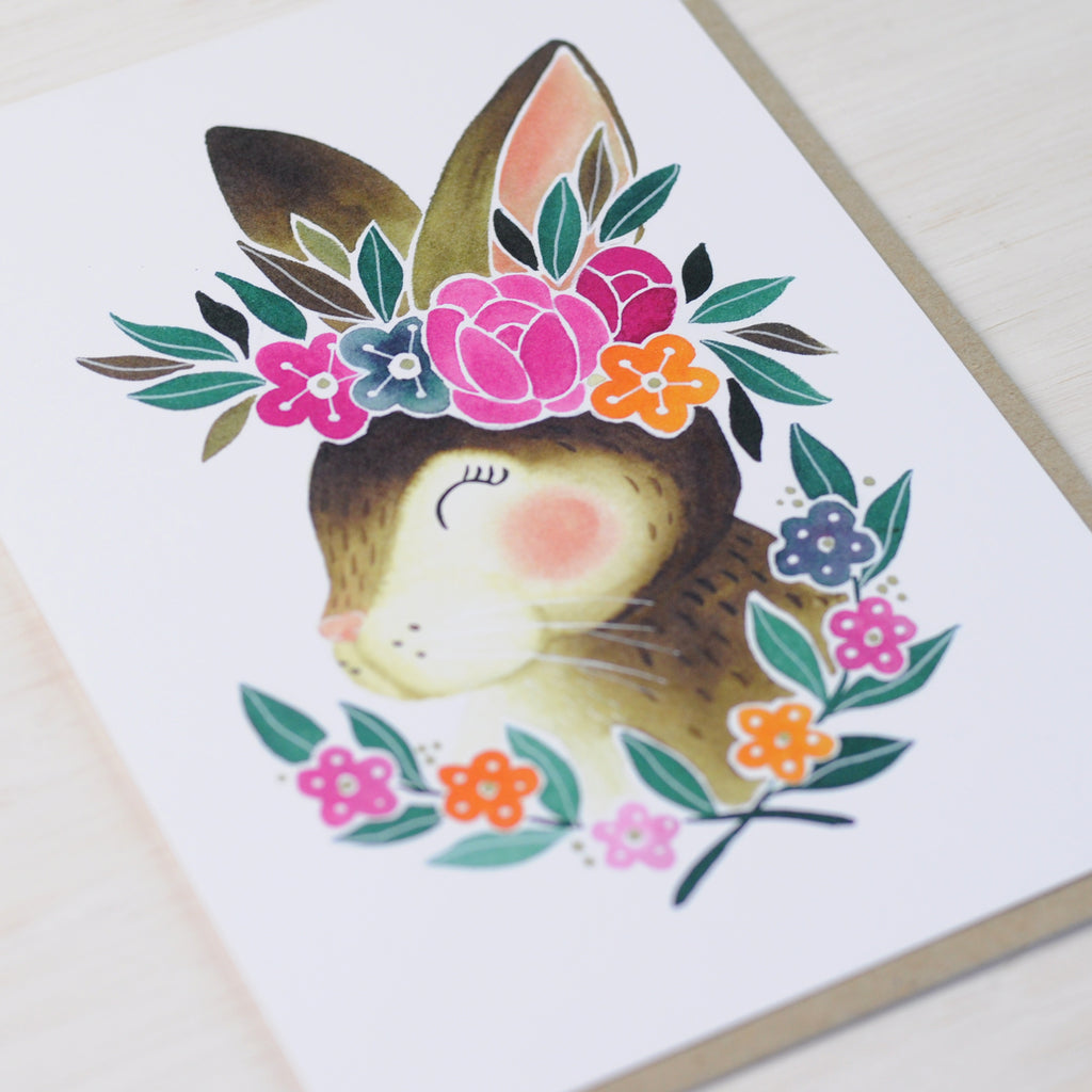 Bunny Greeting Card with cute rabbit and flowers
