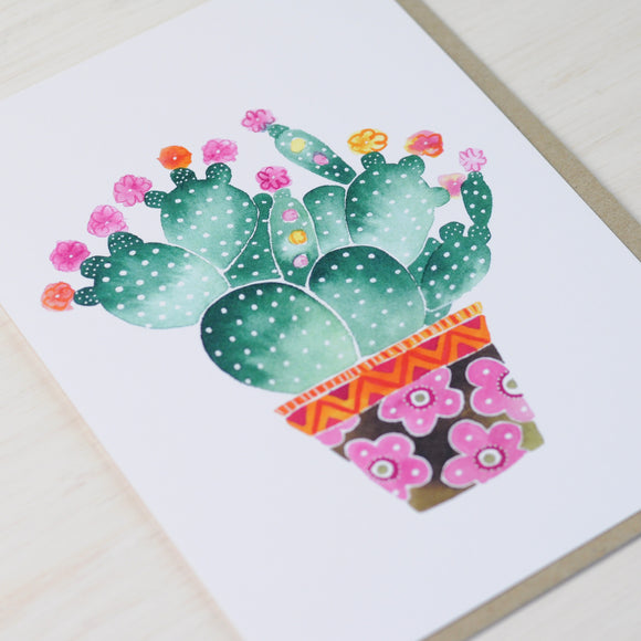 Cactus card featuring a prickly pear cactus illustration