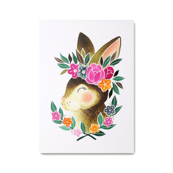 Bunny Art Print featuring and illustrated rabbit wearing a cute flower crown