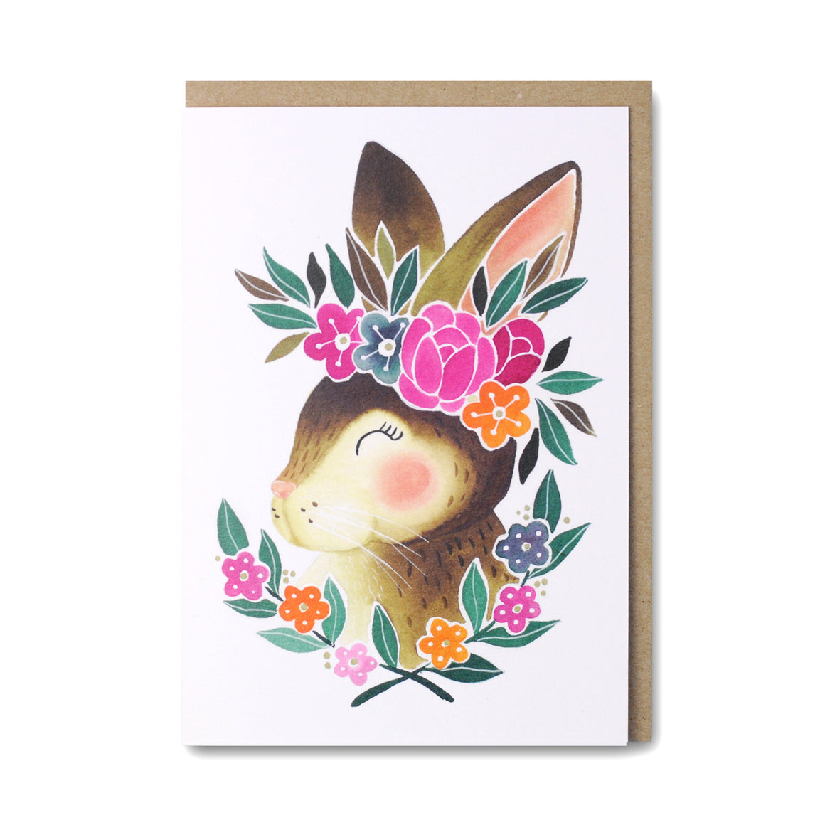 Bunny Greeting Card featuring rabbit wearing flower crown