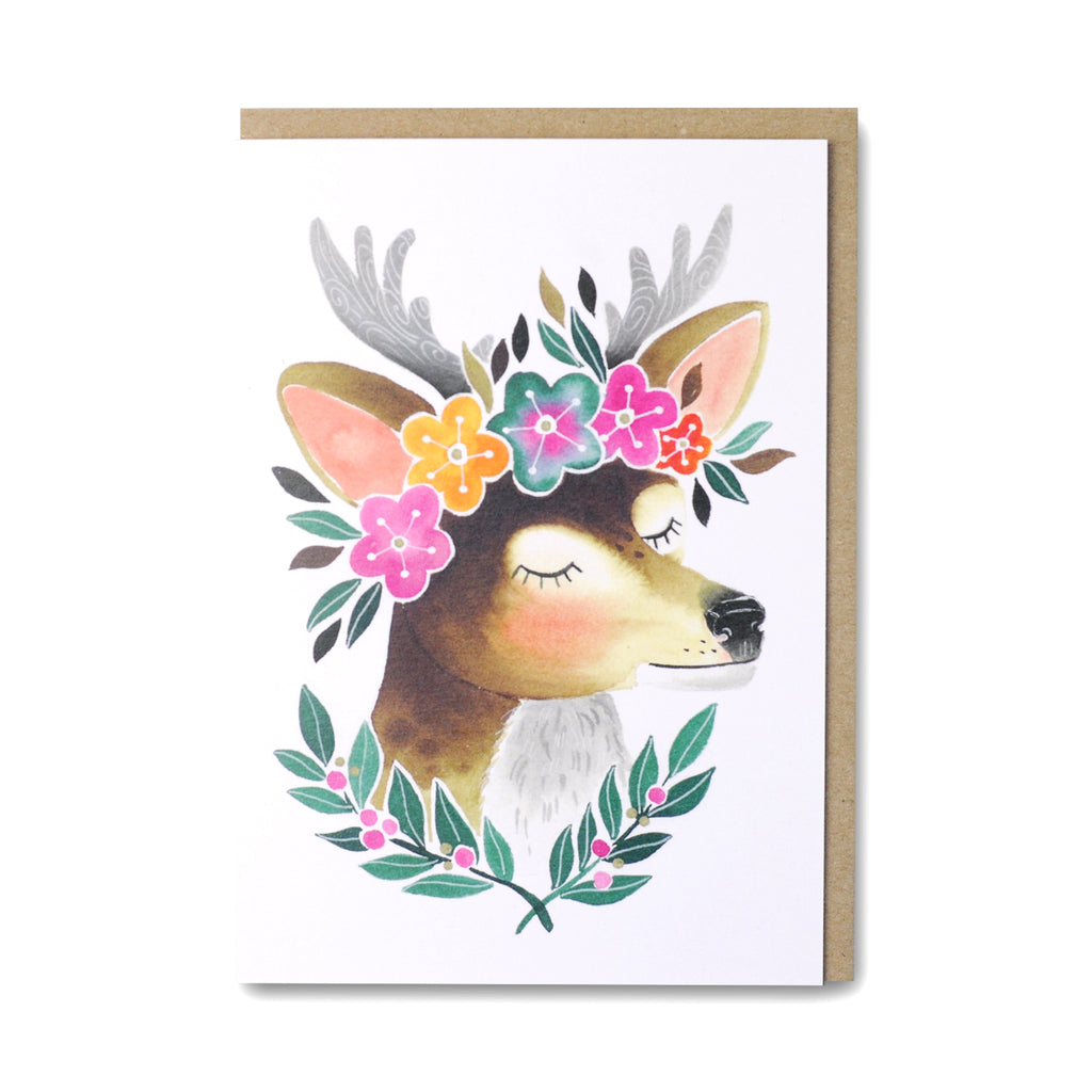 Deer Greeting Card featuring an cute illustrated deer wearing a flower crown