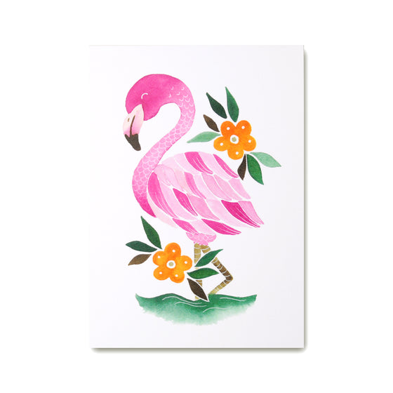 Flamingo Art Print featuring pink illustrated flamingo with orange flowers