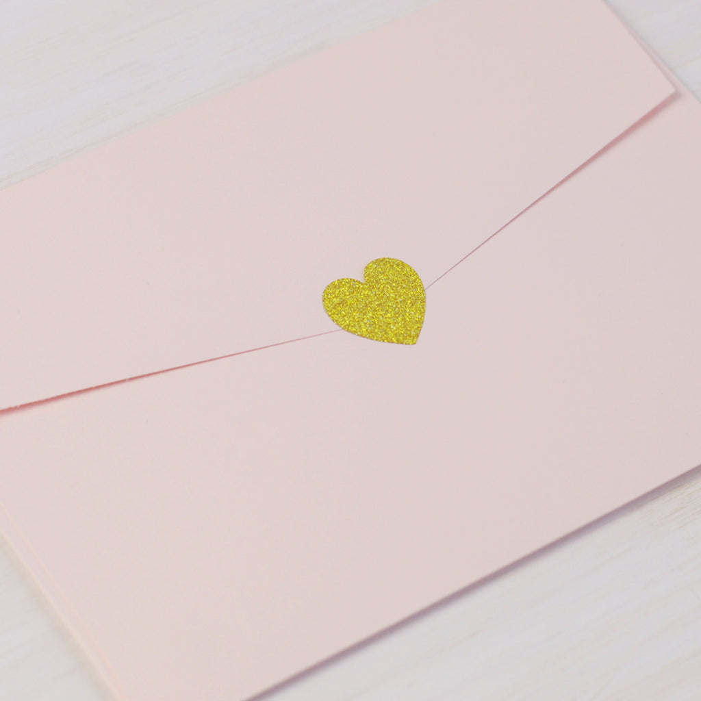 Gold Glitter Heart Stickers - Mini
